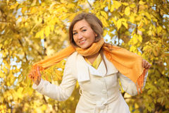 Yellow scarf Stock Images