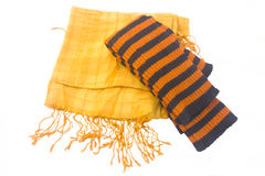 Yellow scarf and striped leggings Stock Photography