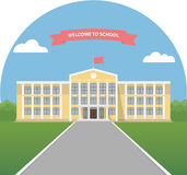 Yellow school building in a landscape. School library. University or college building. Banner invitation back to school. Flat style vector illustration Stock Image