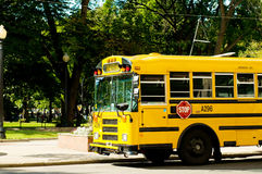 Yellow school bus. On the street royalty free stock images