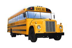 Yellow School Bus. Isolated against white background stock photos