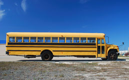 Yellow school bus. Yellow american school bus against blue sky stock image