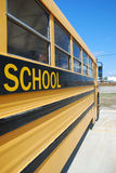 Yellow school bus. Traditional yellow American school bus Royalty Free Stock Photo