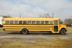 Yellow school bus. Typical yellow American school bus stock photo