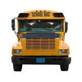 Yellow school bus. Front view of yellow school bus isolated stock image