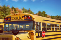 Yellow school bus in autumn. Yellow school bus in parking lot against autumn trees with beautiful blue sky royalty free stock photography
