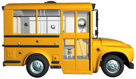 Yellow School Bus Bullet Holes. Yellow school bus illustration. The vehicle has bullet holes and smashed windows. Isolated on white Royalty Free Stock Photo
