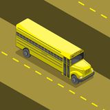 Yellow school bus cartoon 3 d angle. Vector image vector illustration