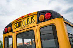 Yellow School Bus. Close up of the back of a school bus royalty free stock photo