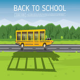Yellow School Bus Driving Along Country Road. Vector Illustration. Back to School Concept with Yellow Bus, Green Tree and Blue Sky royalty free stock image