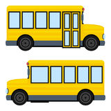 Yellow School Bus Flat Icon on White Royalty Free Stock Images