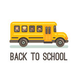Yellow school bus with four children. Looking out its windows, two boys and two girls. Back to school Stock Photo