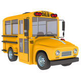 Yellow school bus. Front view yellow school bus royalty free stock photography