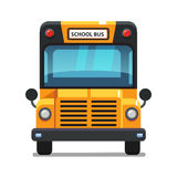 Yellow school bus front view. Colorful flat style vector illustration isolated on white background Royalty Free Stock Photos