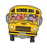 Yellow school bus full of cute and happy kids. Royalty Free Stock Photography