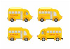 Yellow school bus. Yellow funny school bus puffy Stock Image