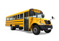 Yellow School Bus. Isolated on white background. 3D render Royalty Free Stock Photo