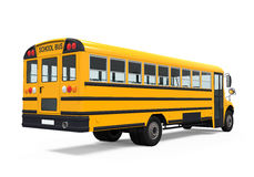 Yellow School Bus. Isolated on white background. 3D render Stock Photos