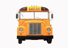 Yellow school bus isolated on white - front view. Yellow scholl bus isolated on white Stock Image