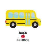 Yellow school bus kids. Cartoon clipart. Transportation. Baby collection. Side view.  Stock Images