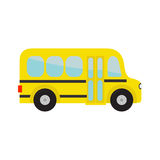 Yellow school bus kids. Cartoon clipart. Transportation. Baby collection. Side view. Flat design. Isolated. White background. Stock Photography