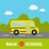 Yellow school bus kids. Green grass and road. Cartoon clipart. Transportation.  Stock Images
