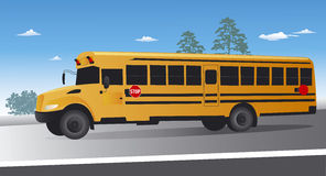 Yellow school bus on the move Stock Photo