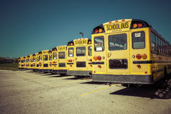Yellow School Bus. On parking lot royalty free stock images