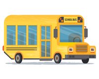 Yellow school bus for pupils. Flat style illustration Royalty Free Stock Images