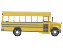 Yellow school bus with red stop sign. Transportation of students or kids side or isometric view 3d rendering stock illustration