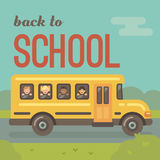 Yellow school bus on the road with four children stock illustration