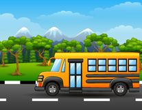 Yellow school bus on road with mountains and trees. Illustration of Yellow school bus on road with mountains and trees Royalty Free Stock Images