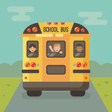 Yellow school bus on the road with three children Royalty Free Stock Photos