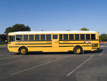 Yellow school bus in school parking lot Royalty Free Stock Images