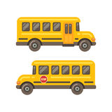 Yellow school bus side views. Flat illustration on white background royalty free illustration