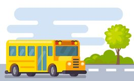 Yellow school bus in street. Vector flat illustration Royalty Free Stock Photography