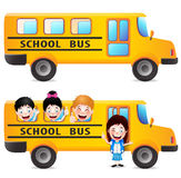 Yellow School Bus With Students Vector Pack Royalty Free Stock Photography