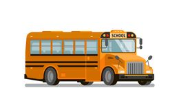 Yellow school bus. Transportation of students and pupils. Vector illustration Royalty Free Stock Images