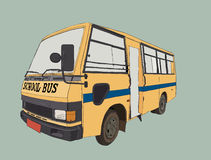 Yellow school bus in urban city. School bus in urban city , sketch vector Stock Images
