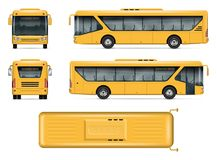 Yellow school bus vector mockup. School bus vector mock-up. Isolated template of yellow autobus on white. Vehicle branding mockup. Side, front, back, top view Stock Photos