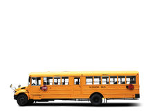 Yellow school bus. On the white background Stock Photo