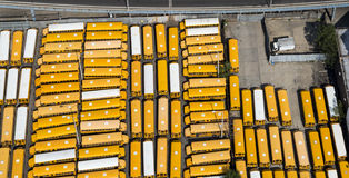 Yellow school buses. Yellow school buses, in a parking lot, New York city, photo taken from air Royalty Free Stock Image