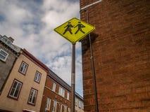 Yellow School Crossing Sign Stock Photos