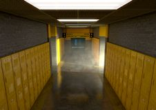 Yellow School Lockers Dirty. A look down a well lit clean schools hallway of yellow lockers - 3D render stock photos