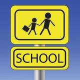 Yellow school sign Stock Images