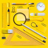 Yellow school supplies Royalty Free Stock Photography