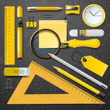 Yellow school supplies Royalty Free Stock Photos