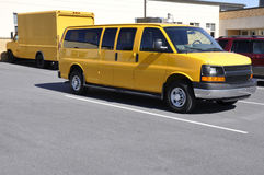 Yellow school van stock photo
