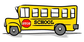 Yellow Schoolbus Childlike Drawing Stock Image