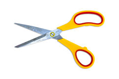 Yellow scissor isolated on white Royalty Free Stock Images